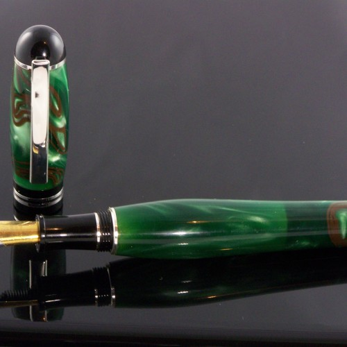Custom fountain pen from green Italian Lucite