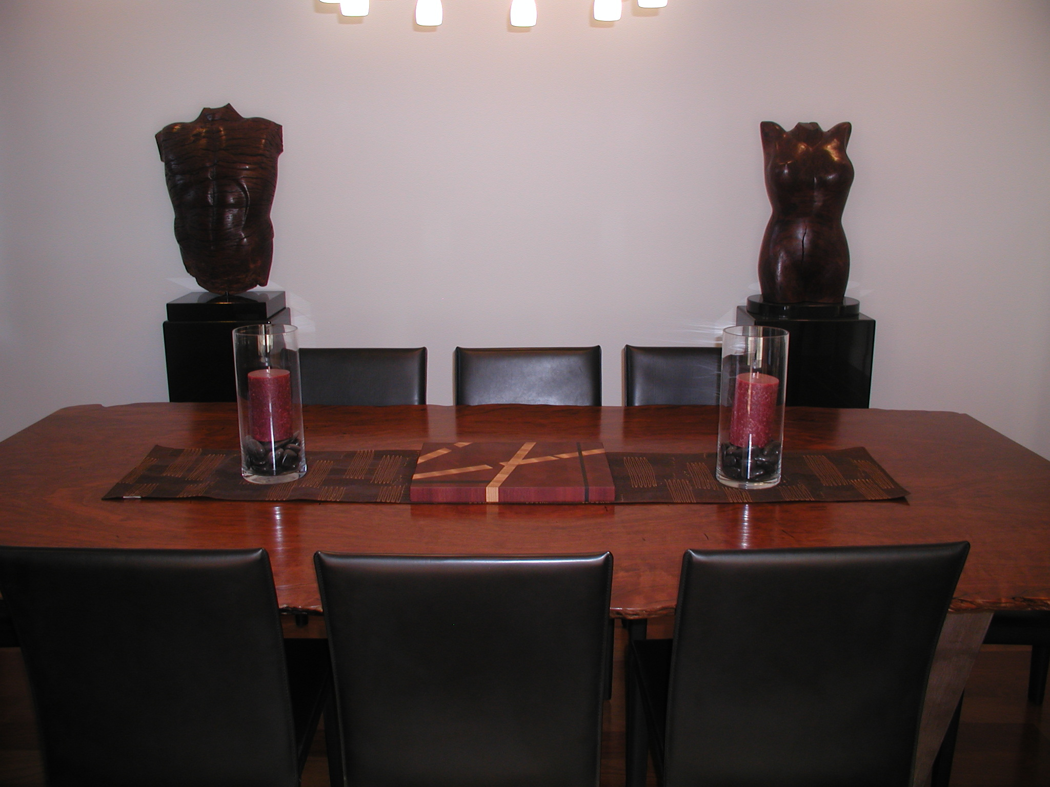 Cutting board in its final home in San Francisco, CA... sitting on a gorgeous table made of jarrah